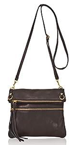 italienische Damen Umhängetasche Barcelona aus echtem geprägtem Leder in tief schwarz, Made in Italy, Handtasche 22x24cm