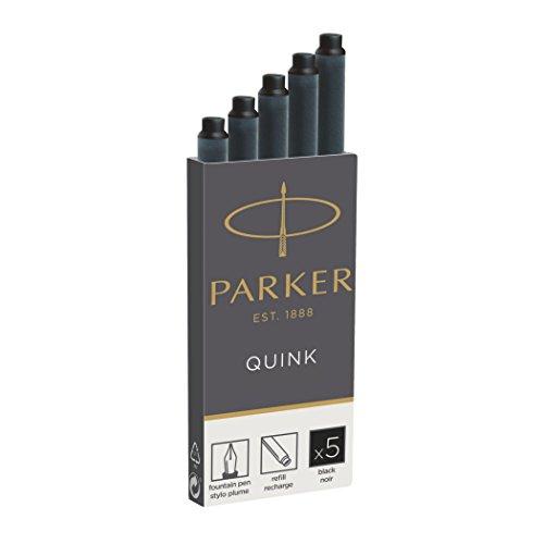 Parker Quink - Recambio para pluma estilográfica (5 unidades, tinta color negro)