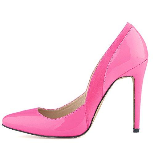 Aisun Damen Sexy Low Top Stiletto Spitz Zehen High Heels Pumps Rosarot