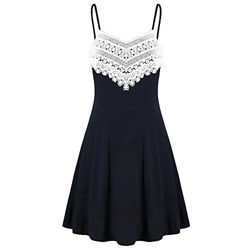 QingJiu Sexy Mode Womens Crochet Lace rückenfreies Minikleid Camisole ärmelloses Kleid
