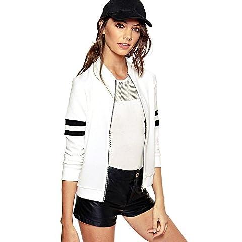 Fitibest Vestes élégantes Casual Zip Up Coat Blousons pour Femmes (L, Blanc)