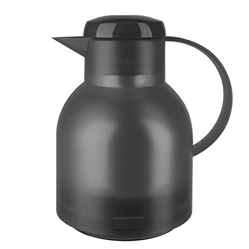 Emsa 509821 Isolierkanne, 1 Liter, Quick Press Verschluss, 100% dicht, Transluzent Anthrazit, Samba