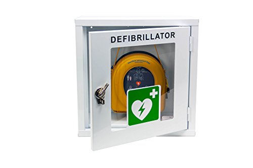 MedX5 (Upgrade 2019) 100dB universal Defibrillator Metall Wandkasten für Innen, pulverbeschichtet für alle AED's mit Alarm