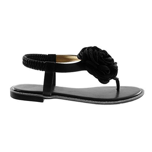 Angkorly Chaussure Mode Sandale Tong Salomés Slip-On Lanière Cheville Femme Fleurs Strass Diamant Talon Bloc 1.5 cm Noir