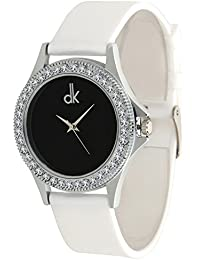 Dk Black Dial Pure White Strap Day-Night Analogue Watch For Girl's - Women's(dk-01198)