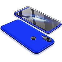 Huawei P20 Lite Hülle JINICHANGWU 360° Rundumschutz-Schale mit Gratis Panzerglas Anti-Kratzer Handyhülle Schutzhülle Case (Blau)