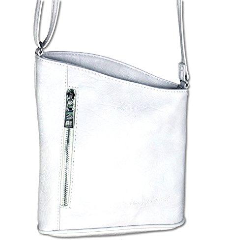 en Damen Damentasche Handtasche Schultertasche Umhängetasche Tasche klein Crossbody Bag weiß (3107) (Weiß Behandeln Taschen)
