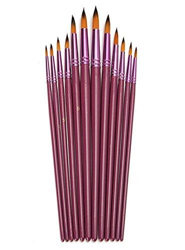 Paint Brush Set, Chickwin 12 Pcs/Set High-grade Artist Paint Brushes Purple Watercolor Gouache Painting Pen Acrylics Oil Painting Supplies (Tip)