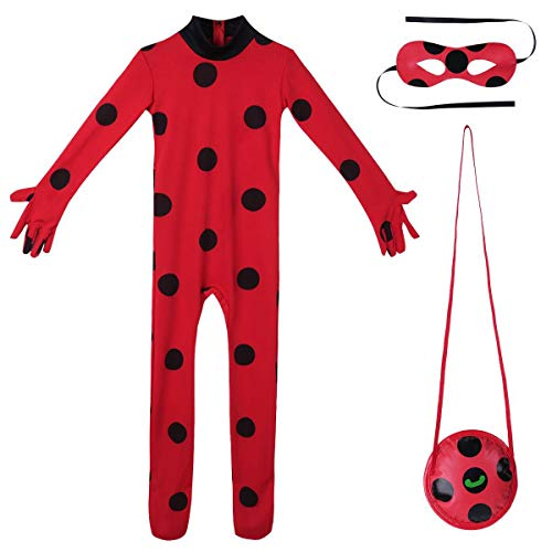 iEFiEL Kinder Mädchen Halloween Karneval Cartoon Marienkäfer Kostüm Overall mit Schawarze Polka Dots Party Cosplay Kostüm 3tlg. Set Outfits Rot 110-116 (Mädchen Lady Bug Kostüm)