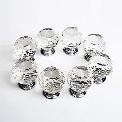 Revesun 6PCS/LOT Diameter 50mm Crystal Glass Door Knobs Cabinet Pulls Cupboard Handles Drawer Knobs Wardrobe Home Hardware - cheap UK light shop.