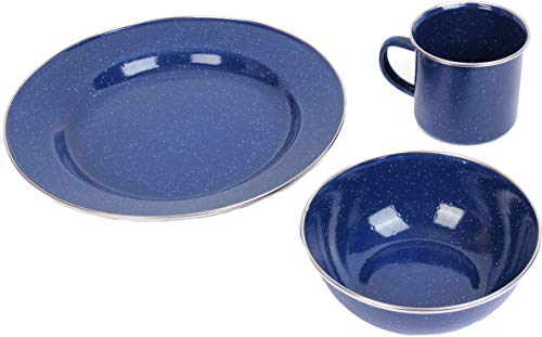 Epic Militaria Haltbare Emaille Camping Abendessen Set, blau, 1 Set
