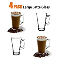 ANSIO® Large Latte Coffee Glass Cups - 385ml (13 oz) - Gift Box of 4 Latte Glasses - Co...