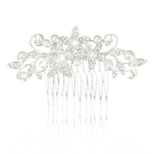 Phenovo Peigne à Cheveux Décoratif en Perles Artificielles et Strass Floral pour Mariée