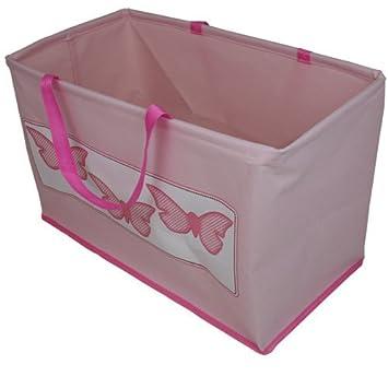JVL Girl Kids Folding Toy Storage Bag With Handles, Butterfly Design   Pink
