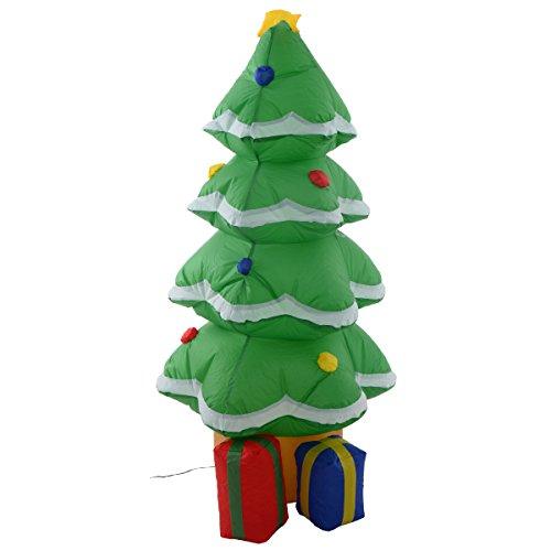 COSTWAY LED aufblasbar Weihnachtsbaum Weihnachtsdeko Ladendeko Tannenbaum mit Geschenkbox Weihnachtsfeier Weihnachten Deko 122cm mit installierter - Geschenkboxen Beleuchtete Weihnachten