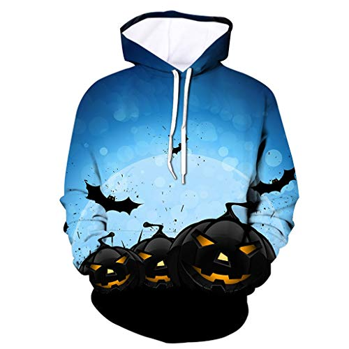 MOTOCO Herrens Womens 3D Hoodie Unisex All-Over Halloween Blood Gedruckt Lightweight Pullover Hooded Sweatshirt S-4XL(M,Blau-2)