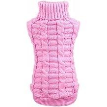 Ropa mascotas - SODIAL(R) Ropa para perros mascotas invierno de lana sueter de los generos de punto Warm canamo Flores Altos abrigos de cuello (M, rosa)