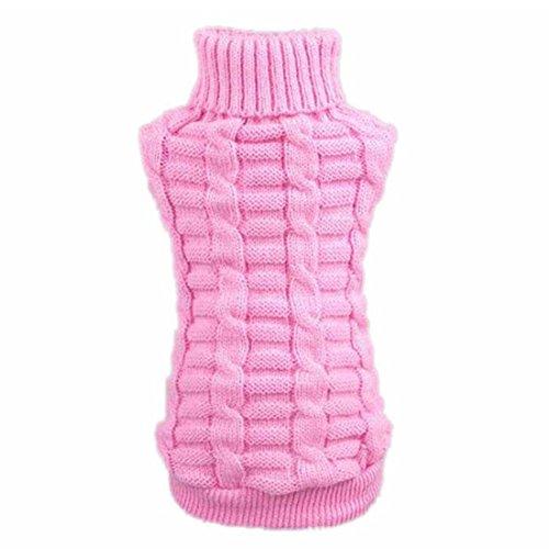 Ropa mascotas - TOOGOO(R) Ropa para perros mascotas invierno de lana sueter de los generos de punto Warm canamo Flores Altos abrigos de cuello (M, rosa)