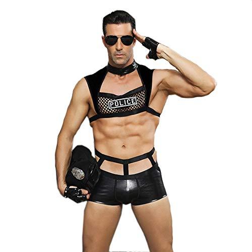 GQMG Männer Sexy Dessous Heiße, Erotische Polizist Cosplay Porno Kostüm Phantasie Bondage Tops PU Leder Shorts Unterwäsche Set Erotische Aushöhlen (Leder Shorts Kostüm)