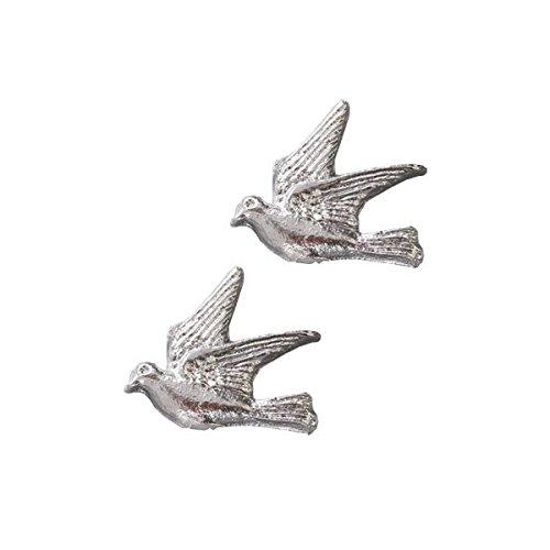 """efco """"Taube Wachs Dekoration, Silber Brillantschliff, 30mm, 2-teilig"""