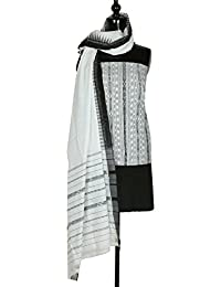 Gleamberry Womens Black and White Ikat Cotton Dress Material Set