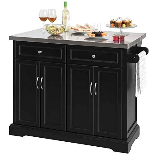 SoBuy FKW71-SCH Kücheninsel Küchenwagen mit erweiterbarer Edelstahlarbeitsplatte Küchenschrank Servierwagen Holz schwarz BHT ca.: 115x92x46-71cm