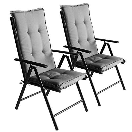 Wohaga 2er Set Komfort Sitzauflage Grau, 123x44x5cm, UV- & Wasserbeständig, Hochlehner Sitzkissen, Outdoorkissen -