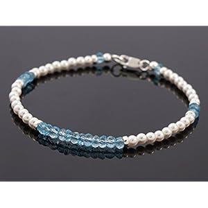 Topas und vegane Perlen Armband Brautschmuck Layering