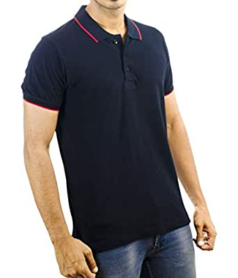 Carbon Ni Men's Cotton Polo Collar Half Sleeve T-shirt (Navy with Red Tipping, Small)