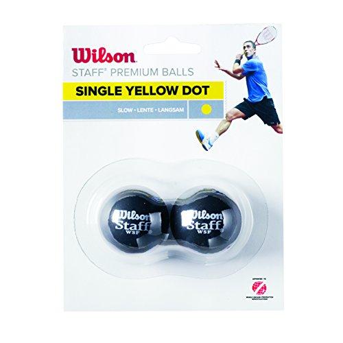 WILSON Staff Squash 2 Ball Yel Dot Squashbälle, Black, One size