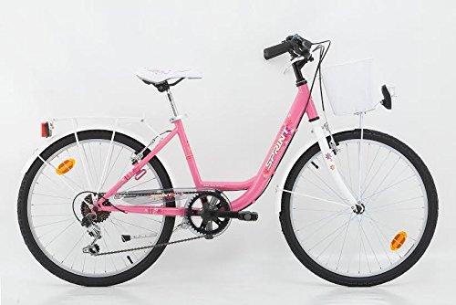 24 Zoll Kinderfahrrad Cityfahrrad Mädchenfahrrad Kinder City Fahrrad Citybike Starlet Pinkweiss 6 Gang SHIMANO mit Korb