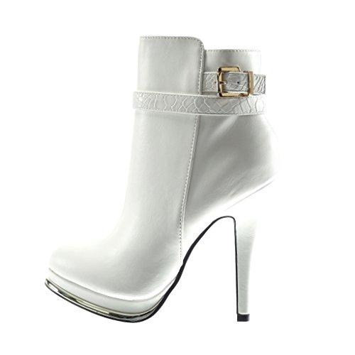 12 Platform Stivaletti A Snakeskin Cm Sexy Stiletto Scarpe Tacco Perizoma Shoes Donna Dorato Spillo Bianco Da Angkorly q6Pg4pwIPT