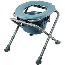 D&F Folding Commode Comfort Silla con cuenca heces, acampar Asiento de inodoro WC asiento portable de carga máxima del cojinete 180 kg