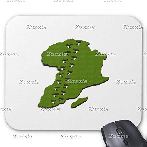 Gaming-Mauspad, rechteckig, für Computer/Laptop, 3D-Karte von Afrika mit Fußabdrücken