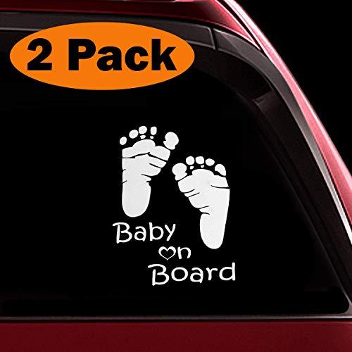 TOTOMO Baby an Bord Aufkleber - (2er-Set) lustige süße coole Sicherheit Vorsicht Aufkleber Zeichen für Autoscheiben und Stoßstangen - Footprint ALI-037