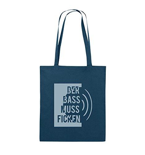 Comedy Bags - DER BASS MUSS FICKEN - Jutebeutel - lange Henkel - 38x42cm - Farbe: Schwarz / Silber Navy / Eisblau