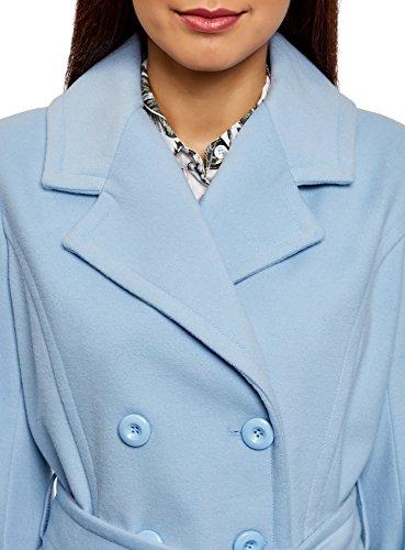 oodji Collection Damen Zweireihiger Mantel mit Gürtel Blau (7000N)