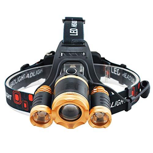 Uiyu proiettore esterno, 3led super luminoso 4modalità di funzionamento batteria esterna impermeabile comodo per zoomable messa a fuoco per campeggio, pesca, bicicletta caccia escursionismo