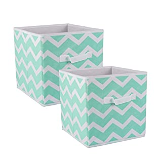 DII Fabric Storage Bins for Nursery, Offices, Home Organization, Containers Are Made To Fit Standard Cube Organizers (11x11x11) Chevron Aqua - Set of 2