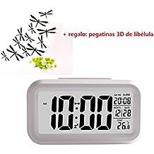 Malloom® Reloj despertador, Smart simple silencioso LED Exhibición de la fecha, Snooze Repitiendo, sensor de luz de la noche (blanco)