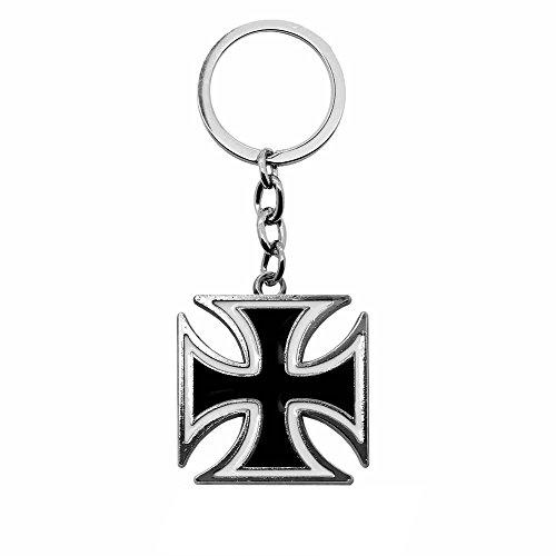 nhänger Eisernes Kreuz Mit Geschenk-Etui Iron Cross Anhänger Schlüsselband Schlüssel Weiß Rot Schwarz, Farbe:schwarz ()