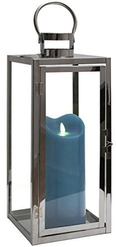 Dekovita Edelstahl-Laterne 41cm inkl Tronje LED-Echtwachskerze 23cm Blau Stumpen Timer bew. Docht Leuchtdauer 800 St
