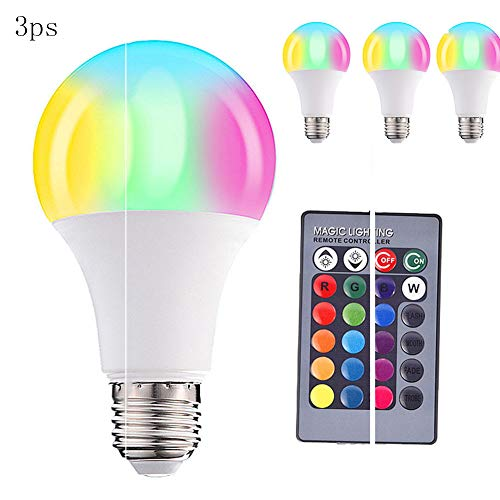 Czqlcyl Color-Changing Light Bulb, dimmable 10W E26 RGBW warm White LED Bulb with Timing, Memory and sync Function, 12 Color Remote Control smart Bulbs - 3 Packs