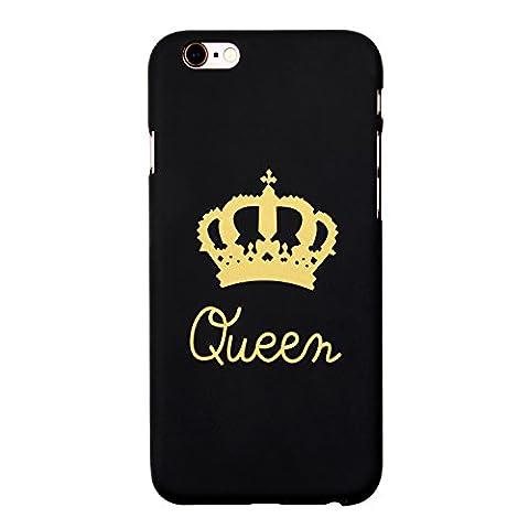 Cuitan Couples PC Difficile Housse pour Apple iPhone 6 / 6S (4.7 Inch) Case, Or Crown Queen Désign Anti-Rayures Retour Housse Back Cover Protecteur Etui Coque Cover Shell pour iPhone 6 / 6S (4.7 Inch) - Noir(Téléphone non inclus)
