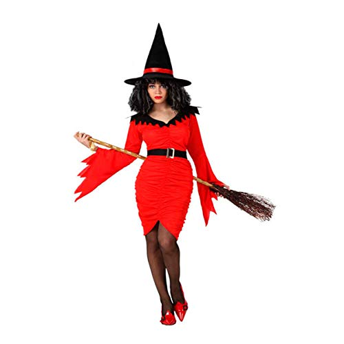 ies Halloween Witch Fancy Dress Costume Red Size M-L Adult One Size Cosplay Halloween ()