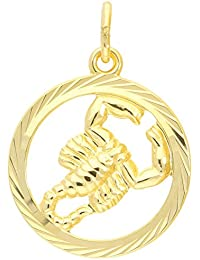 MyGold Sternzeichen Anhänger Skorpion (Ohne Kette) Gelbgold 333 Gold (8 Karat) Diamantiert Innen Offen Ø 15mm Rund Tierkreiszeichen Horoskop Goldanhänger Geschenke Geschenkideen Gavno A-04433-G302-Sko