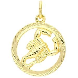 MyGold Sternzeichen Anhänger (Ohne Kette) Gelbgold 333 Gold (8 Karat) Ø 15mm Rund Tierkreiszeichen Horoskop Sternbild Goldanhänger Gavno MOD-04433