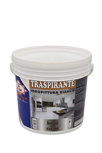 Gdm-traspirante, idropittura ideale per bagni e cucine, colore: bianco, 4 litri