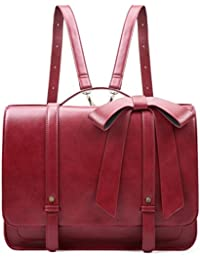 "ECOSUSI Large Women Messenger Bag Satchel Bag 14.7"" Laptop Backpack with Detachable Bow"