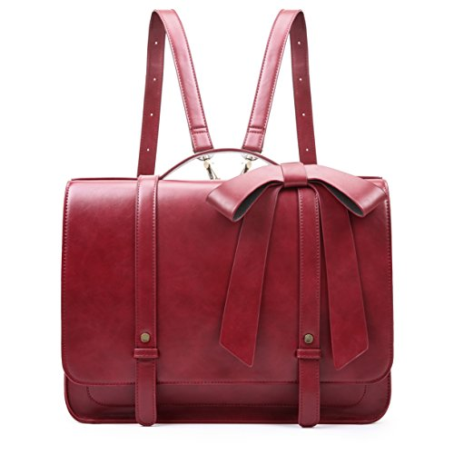 ECOSUSI Damen Umhängetasche Vintage Aktentasche mit abnehmbarer Schleife Laptoptasche 14 Zoll Rot (Damen Rot Leder Aktentasche)